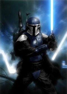 a Jedi's worst fear. a Mandalorian with a lightsaber! Jedi can just use the force to pin the Mandalorian to a wall and disarm or kill him or her.