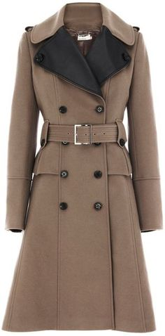 KAREN MILLEN ENGLAND Glamorous Military Coat. Great choice with dark jeans and boots with a white sweater. Keep jewelry understated with a high neck coat to avoid looking too busy.
