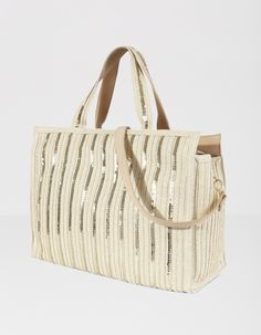 Bolso shopper paillettes | Blanco