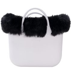 faux fox fur trim - black - an O bag mini accessory