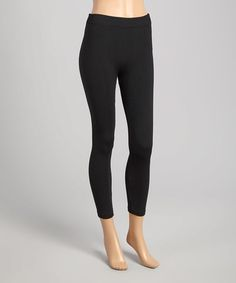 Loving this Black Textured High-Waist Fleece-Lined Leggings on #zulily! #zulilyfinds
