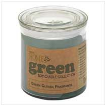 Green Clover Soy Candle One of my favorite things to decorate with is candles. They make my home feel cozy and I love the smell. This soy candle is natural, and I'm thinking about getting one.