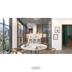Apartment interior design with glass facade system. Kitchen with glass doors and marble table  www.qara.work