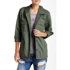 O'Neill Mitzi Jacket ($40) ❤ liked on Polyvore featuring outerwear, jackets, army, army green jacket, lightweight field jacket, lightweight military jacket, long sleeve jacket and army jacket