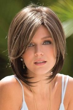 All wig styles for you.Short Straight Capless Brown Ideal Synthetic Bob Wigs at an affordable price. Medium Hair Styles, Short Hair Styles, Frosted Hair, Short Bob Hairstyles, Pixie Haircuts, Layered Hairstyles, Pretty Hairstyles, Haircut Short, Gray Hairstyles