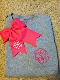 monogram bow and T-shirt