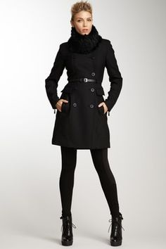 Dawn Levy Gisell Leather Trim Belted Coat