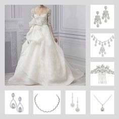 The stunning Lockwood necklace and Lockwood earrings, Isabella hair comb, Ashcroft pendant, Everett earrings, Vandervelden necklace and Middleton earrings with Monique Lhuillier bridal gown. Save 10% using promo code: pinterest10 at adorn.com ... bridal accessories, diamond jewelry, diamond chandelier earrings, diamond chandelier necklace