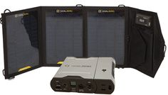 Power your goods during an emergency.  Solar power - and weighs less than a pound...computers, tablets, phones, hair dryers, etc.
