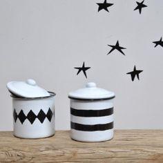 enamelled sugar bowls  #sugarbowls #kitchen #blackandwhite