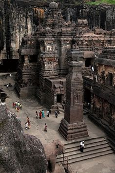 The rock hewn temple of Kailasa in Ajanta Ellora cave area, India.