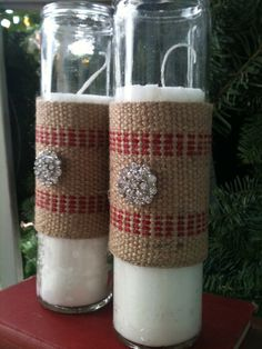 Christmas candles with jute webbing set of by burlapheartstrings