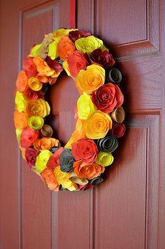 Paper flowers wreath