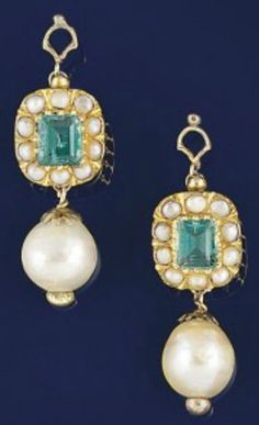 A pair of cultured pearl and emerald earpendants  Each cultured pearl drop to foiled cut-cornered rectangular emerald and half-pearl cluster surmount, hook fittings