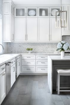 A Modern Farmhouse Kitchen in Austin, Texas Grey Kitchen Tiles, Gray And White Kitchen, Wood Floor Kitchen, Grey Tile Floor Kitchen, U Shape Kitchen, Grey Kitchen Island, White Cabinets White Countertops, Backsplashes With White Cabinets, Kitchens With White Cabinets