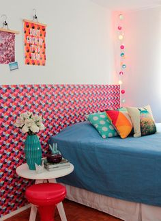 wallpaper instead of a headboard. For an apartment/dorm I could probably use that removable sticker paper stuff.