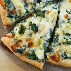 Spinach Artichoke Pizza - one of the best slices of pizza you may ever eat! I'm in love with this pizza!