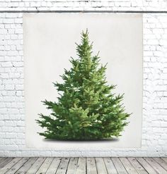 This minimalist, wall-hanging Christmas tree tapestry is handmade from a large natural linen fabric sheet with a realistic, high resolution print of a fir tree on one side. Wall Hanging Christmas Tree, Christmas Tree Decorations, Christmas Crafts, Holiday Decor, Tree Tapestry, Tapestry Wall Hanging, Kitsch, Eco Friendly Paint, Watercolor Christmas Cards