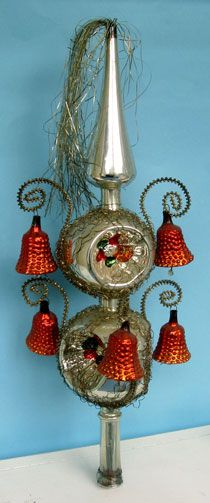 Glas Kerst ornamenten boomtoppen - vintage glass Christmas tree topper