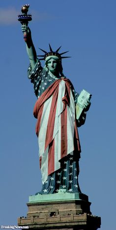 Statue of Liberty Dressed in the American Flag