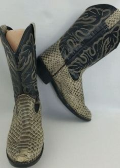 45.53$  Buy now - http://viagg.justgood.pw/vig/item.php?t=wv4qbk30540 - Boone & Crockett Cowboy Boots 4 Western Faux Snake Print Leather Work Booths 45.53$