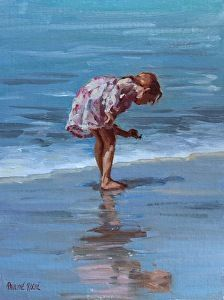 Shell Collecting by Pauline Roche Oil ~ 12 x 9