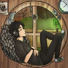 and he is nico please do not disturb he's probably listening to his bands.