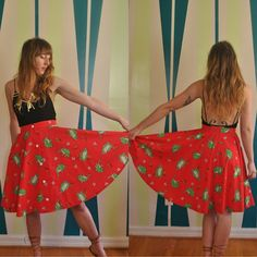 "Vtg FROG Skirt with POCKETS / 1970s Novelty midi boho circle skirt / High Waisted 26"" XS Small / Cotton Flowy Flouncy"