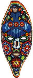 This beautiful, one-of-a-kind beaded mask was made by pressing tiny glass beads into natural beeswax spread over a paper mache form.  Bead art is made in limited quantities by the Huichol and Tepehuano Indians of southwestern Mexico.  Click here for additional information on the Huichol people and how this art was made, and here for an Adobe Reader file describing the significance of their symbols and color choices.