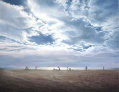 'First Day' original oil painting by contemporary landscape painter Katherine Kean   An atmospheric day; clouds, ocean, and beach inspired by Santa Monica Beach, Santa Monica, CA  Original painting can be found at Bloomingdale's, Santa Monica Place