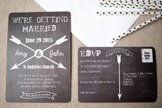 Chalkboard & Arrow Wedding Stationery - new to Wedding in a Teacup
