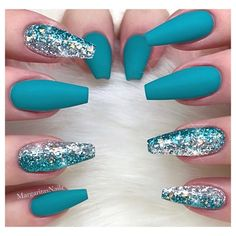 Nail art from the NAILS Magazine Nail Art Gallery, gel, matte top coat, fashion, trendy nail art, spring nails, glitter fade, beauty, glitters, summer design, aqua, turquoise,