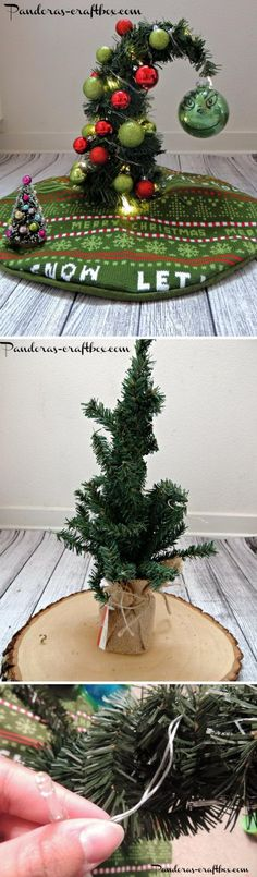DIY Grinch Christmas Tree. It's always fun to add a little humor to your Christmas decorating. This awesome mini Christmas tree is just like any other tree but with a little surprise through a little crystal ball with the Grinch's face. Fill the tree with ornaments and make it a cute little tree to place on any mantel or coffee table
