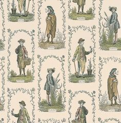 Four Seasons (LW107) - Lewis & Wood Wallpapers - The Four Seasons prints were created in the late 18th Century by the London firm, Bowles & Carver.  These unassuming publications were sheets depicting the daily life of ordinary people in England.  They were created with considerable humour and charm.