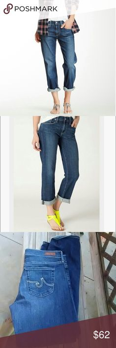 """AG The Simona Easy Straight Leg Anthropologie Adriano Goldschmied the Simona Easy Straight Leg jeans. These are in very good used condition with no fading, tears, stains, or fraying. 5 pockets, zipper fly. Inseam 29"""" Not cuffed . waist 17"""" across.   70% cotton, 28% Lyocell, 2% polyurethane. AG Adriano Goldschmied Jeans Straight Leg"""