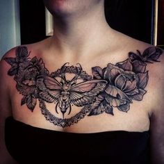 Butterfly Flowers Black Chest Tattoo