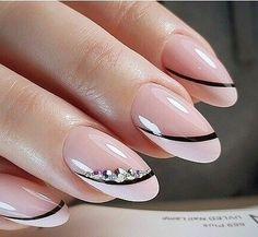 Nail Tip Designs, Manicure Nail Designs, Classy Nail Designs, Cute Nail Art Designs, Almond Nails Designs, Nail Manicure, Gel Nails, Manicure Ideas, Coffin Nails