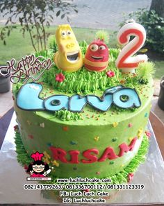 Harry Birthday, 7th Birthday, Birthday Parties, Cartoon Birthday Cake, Birthday Cakes, Larva Cartoon, Character Cakes, Dessert Decoration, Party Cakes