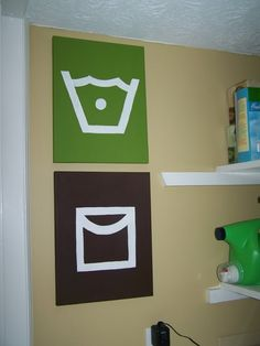 Laundry room decor: Cleaning symbols that your find on clothes tags.