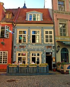 Alpenrose Restaurant, Old Town Riga, Latvia. A Swiss fondue restaurant near the Riga Cathedral. The Places Youll Go, Places To Go, Bósnia E Herzegovina, Baltic Region, Pubs And Restaurants, Chicago Restaurants, Riga Latvia, Shop Fronts, Eastern Europe