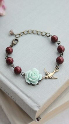Soft Mint Green Rose Flower, Bourdeux Wine, Dark Garnet Red Pearls, Swallow Bracelet. Bridesmaid Gifts, BFF Gift Ideas, Mint and Red Wedding.  https://www.etsy.com/listing/216593364/soft-mint-green-rose-flower-bourdeux