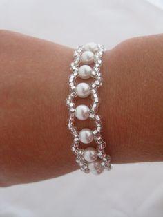 Pulsera swarovski blanco perla boda por Clairesparklesbridal