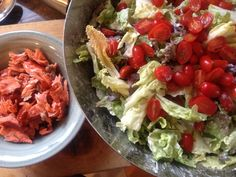 Green Salad with Smoked Salmon, Tomatoes, and Crème Fraiche-Dill ...
