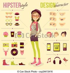 drawings of the hipster girl - Google Search