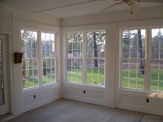 project - Sun Porch turned into Sunroom/Sun Porch. Beautiful wall of windows Interior Pic Visit us at Home, Sunroom Windows, Porch Remodel, House With Porch, New Homes, House, Home Additions, Building A Porch, Porch Design