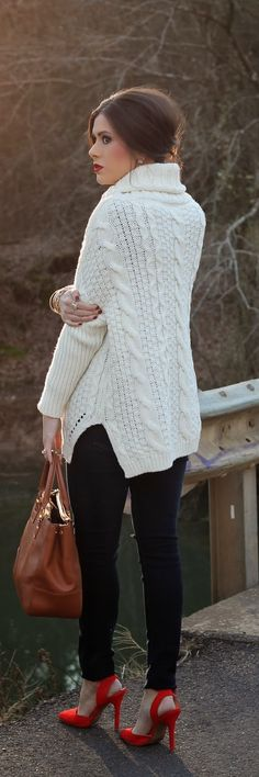 Fall / winter - black skinnies + white oversized cable knit sweater + red stilettos + brown handbag