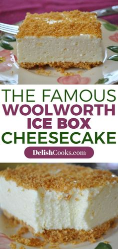The Famous Woolworth Ice Box Cheesecake enjoy more recipes from here, acquire update every hours of daylight taking into consideration delectable and yummy recipes Cheesecake Desserts, Lemon Cheesecake, No Bake Desserts, Dessert Recipes, Woolworth Cheesecake Recipe, Icebox Desserts, Frozen Cheesecake, Homemade Cheesecake, Classic Cheesecake