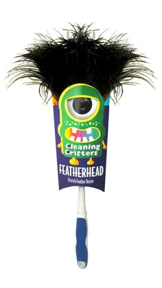 """Ettore Cleaning Critters make cleaning fun! This is the """"Featherhead"""" feather duster with real ostrich feathers. Window Cleaning Tools, Cleaning Fun, Cleaning Supplies, Cleaning Products, Professional Window Cleaning, Feather Duster, Sub Brands, Ostrich Feathers, Packaging"""