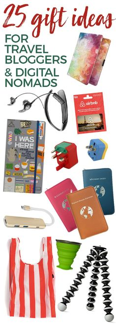 25 Gift Ideas for Digital Nomads & Travel Bloggers - Digital nomads and travel bloggers usually like to travel light, but here's some gear and gadgets that would make a great gift for an avid traveler. Useful unique gifts for travelers. #gifts #giftideas #travel #travelblogger #digitalnomad