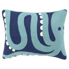Handmade cotton pillow with a plush down fill. Showcases a crewstitch octopus motif in blue, turquoise, and ivory.   Product: PillowConstruction Material: Cotton and down fillColor: Blue, turquoise and ivoryFeatures:  Handmade crewstitich Insert included Dimensions: 14 x 18Cleaning and Care: Spot clean